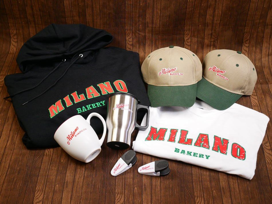 Collage of milano apparel and gifts