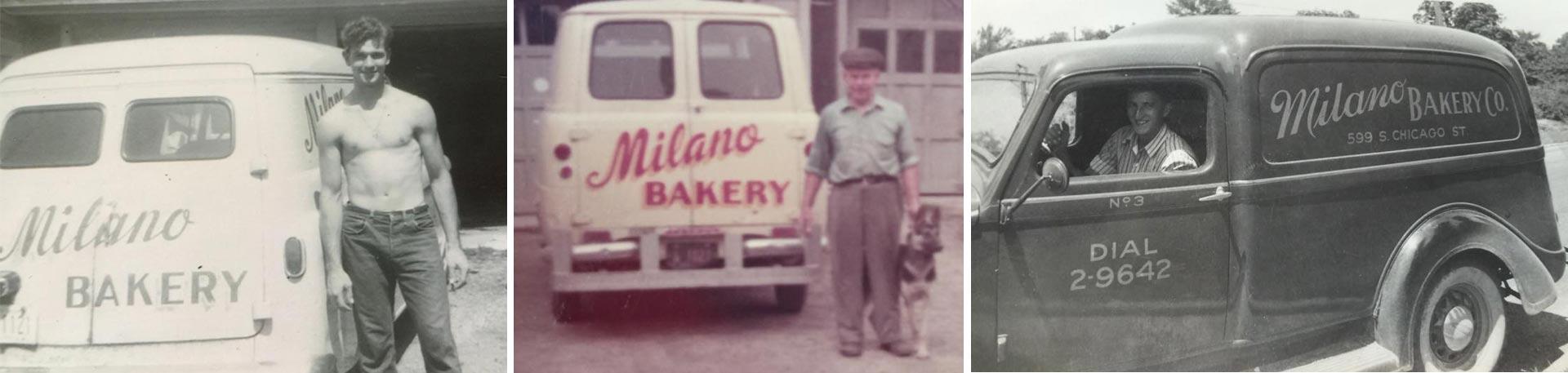 Milano Bakery photo collage of Mario DeBenedetti with Milano Bakery Trucks