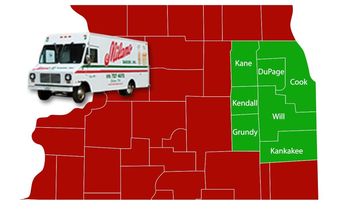 Milano Bakery Wholesale Delivery map